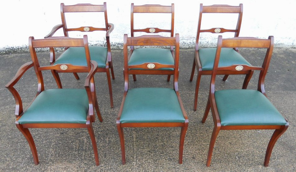 Set of Six Antique Adam's Style Mahogany Dining Chairs - ... - Set Of - Antique Style Dining Chairs Antique Furniture